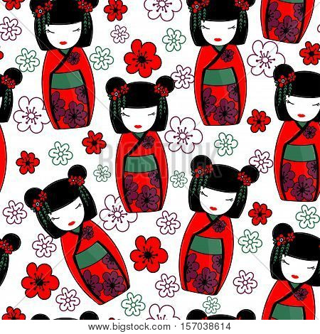Cute pattern with Kokeshi, japanese dolls - talismans of good fortune and prosperity. Vector illustration.