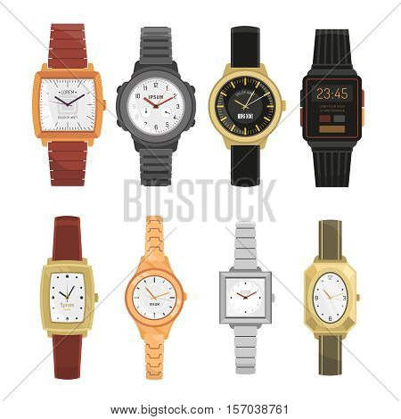 Man and woman mechanical and electronic wrist watches set in classic and modern design with straps and bracelets isolated vector illustration