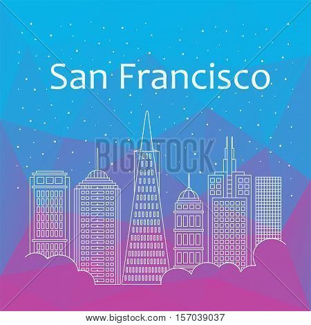 San Francisco for banner poster illustration game background. Vector San Francisco - snow is falling. Night life of San Francisco. Hackathon workshop training in San Francisco. Holiday in San Francisco