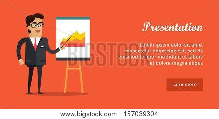 Presentation banner. Business man with black hair in business suit and tie making a presentation in front of whiteboard with infographics. Smiling young man personage in flat design isolated. Vector