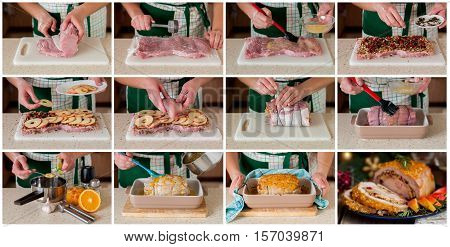 A Step By Step Collage Of Making Stuffed Pork Loin