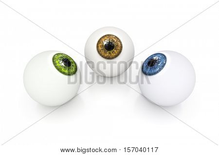 3d rendering of a brown green and blue eyeball