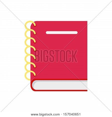 Leather notebook isolated on white background. Red leather notebook with spiral. Stack of ring binder book. Fashionable organizer for data storage. Vector illustration in flat style design