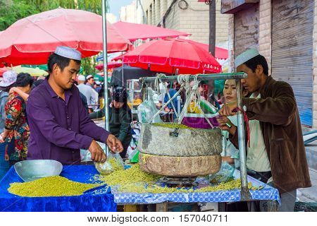 Afternoon Street Market In Xining, China