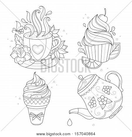 Coloring page set. Cupcake, ice cream, tea pot, tea cup. Vector illustration isolated on white background.