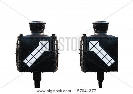 Signal Direction For Train Isolate On White Background , Old Signal