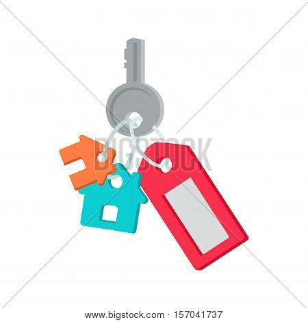 Key to the front door vector. Flat style. Key from house with tag and cottage figures. New dwelling. Illustration for real estate company advertising, housing concepts. Isolated on white background.
