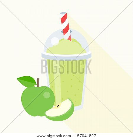 Green apple smoothie vector illustration, apple juice, flat design with long shadow