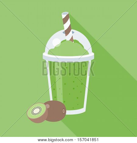 Kiwi smoothie vector illustration, Kiwi juice, flat design with long shadow