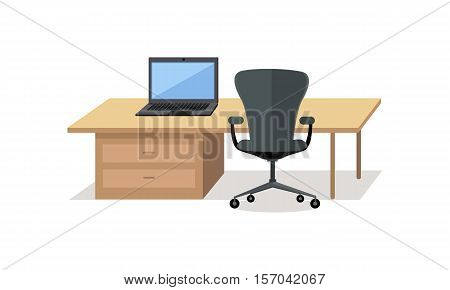 Workplace empty isolated design. Office and work, office workplace, business desk, office interior, empty table, interior isometric workplace, furniture and computer desktop. Vector illustration