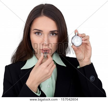 Businesswoman Whistling and Holding Stop Watch - Isolated