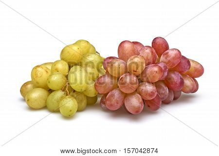 Two sorts of grapes red and white  isolated on white