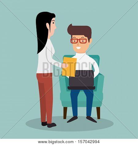 businessman secretary document work laptop vector illustration eps 10