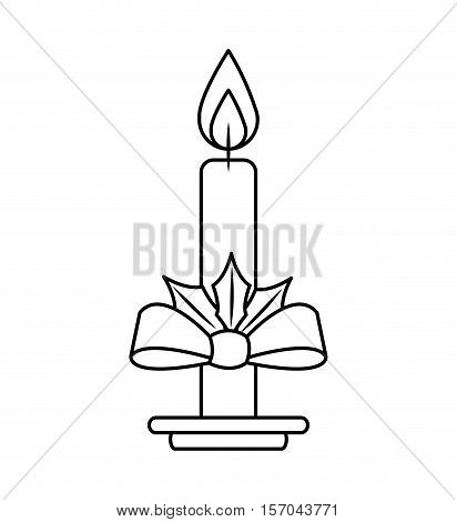 christmas candle decorative icon vector illustration design