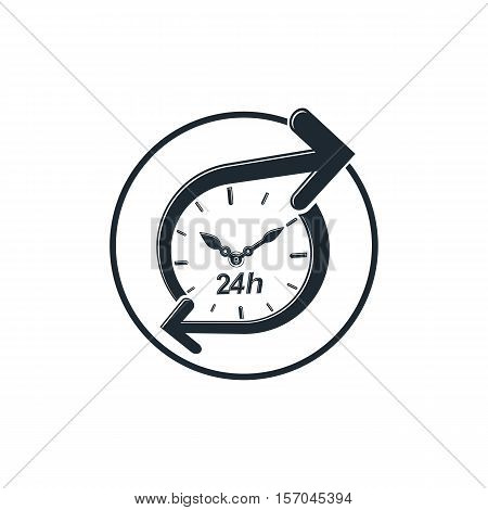 24 hours-a-day concept clock face with dial and an arrow around. Day-and-night interface icon for use in web design.