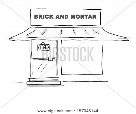 Black and white illustration of a brick and mortar store that has closed.