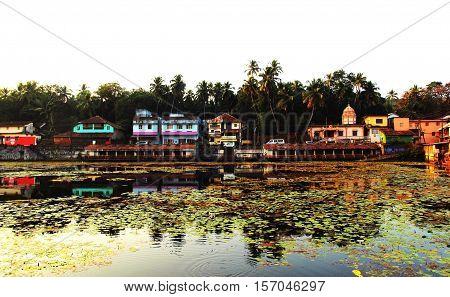 KARNATAKA, INDIA, Coast of sacred lake in Gokarna