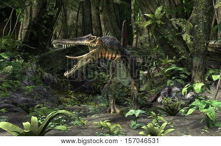 3D digital render of a dinosaur Spinosaurus in a green forest
