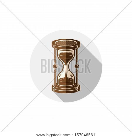 Old-fashioned simple 3d hourglass time management business icon.