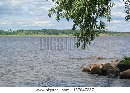 Volga River near the town of Kineshma, Ivanovo region. Vastness. Clouds. Volga.Russian landscape