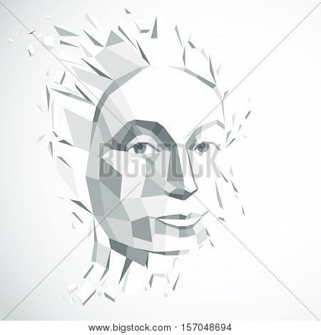Smart person concept human head exploding and breaks into multiple fractures. Dimensional vector illustration of thoughtful woman face created in low poly modernized style.