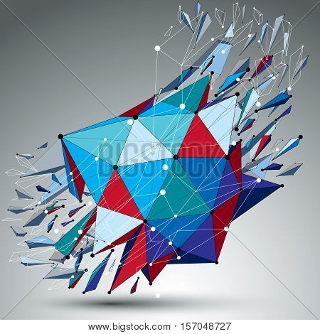 3D Vector Low Poly Object With Connected Black And White Lines And Dots, Colorful Geometric Wirefram