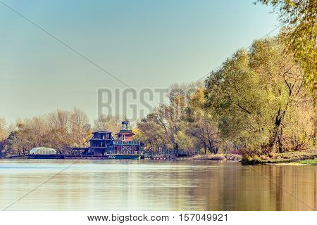 Kiev/Ukraine - Novembre 5 2016 - House boats on the Dnieper river in Kiev Ukraine