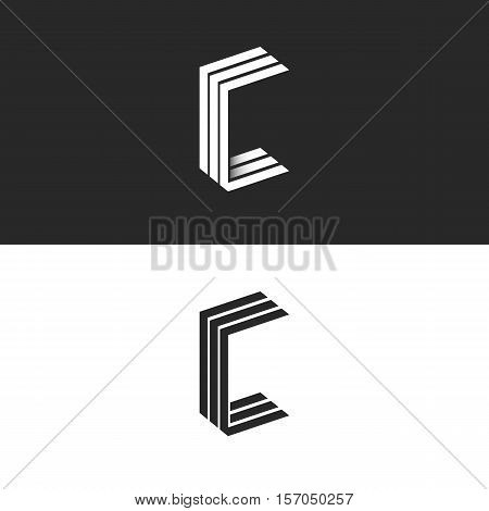 Idea 3D Logo C Letter Isometric Monogram, Group Initials Ccc Black And White Simple Emblem, Parallel