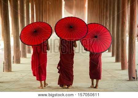 These novices or monks walking in Burma.
