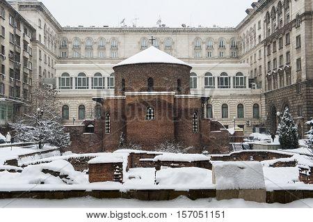Rotunda Sveti Georgi or St George under snow in Sofia, Bulgaria