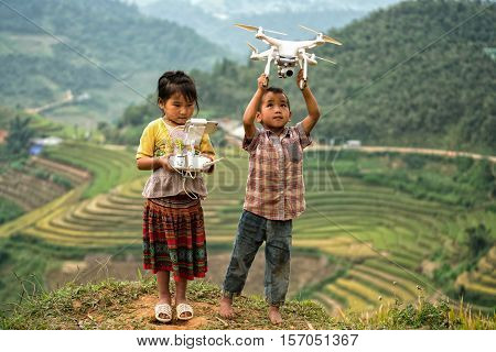 The children playing drones in the mountains of Vietnam.