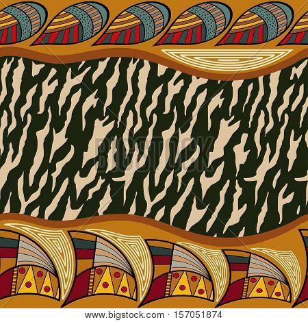 Ethnic seamless pattern with zebra. Tribal style