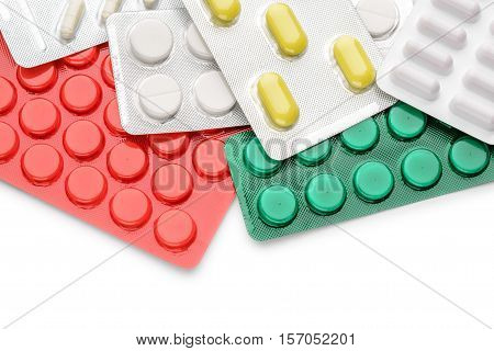 Red yellow green and white pills blisters of pharmacy to cure pain and illness poster