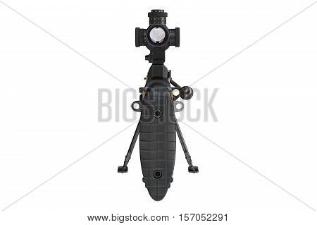 Rifle sniper firearm optical sight scope back view. 3D graphic
