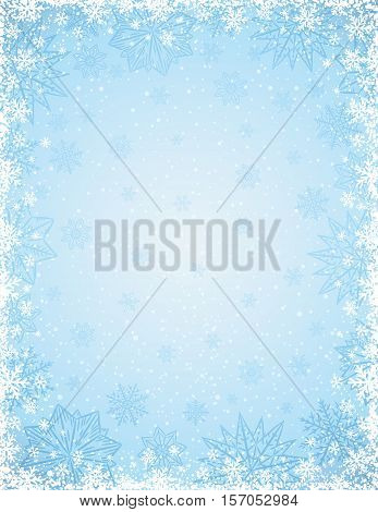 Blue background with frame of snowflakes and stars vector illustration
