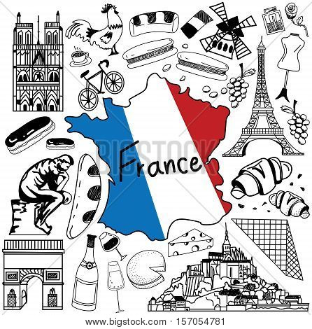 Travel to France doodle drawing icon. Doodle with culture costume landmark and cuisine of France tourism concept in isolated background create by vector