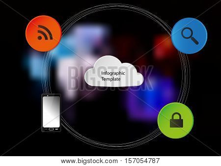 Illustration infographic template with cloud motif with several items around. Elements are joined by several circles together. Background is created by blurred photo of color dices.
