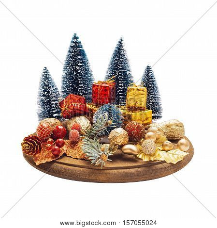 Christmas composition on cake plate isolated on white