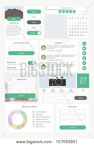 Set of UI and UX kit elements. User interface for website development, mobile application, app design. Colorful stylish icons, buttons, control elements and forms in modern style. Vector illustration