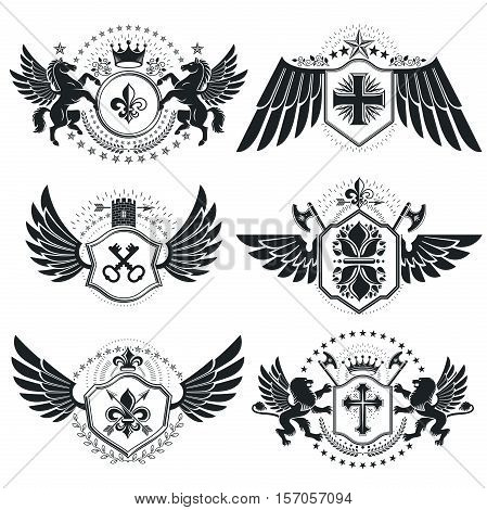Heraldic Coat Of Arms, Vintage Vector Emblems. Classy High Quality Symbolic Illustrations Collection
