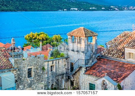 Aerial view on old town center of Korcula, popular touristic resort on Adriatic Sea, Croatia Europe.