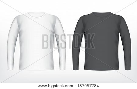 Mens white and black t-shirt with long sleeve. Vector mockup. EPS10