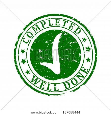 Scratched round green stamp with the words - completed well done - Vector