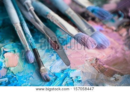 Macro Artist's Palette, Texture Mixed Oil Paints In Different Colors And Saturation.