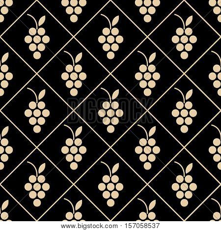 Seamless background with a pattern of vines in geometric squares. Yellow grapes on a black background. Suitable for decoration of the menu wine list paper packaging for wine. vector illustration.