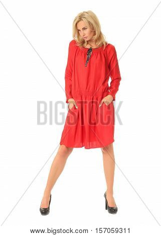 Portrait Of Flirtatious Woman In Red Beachwear Isolated On White