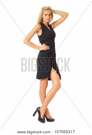 Full Length Of Flirtatious Woman In Slit Dress Isolated On White