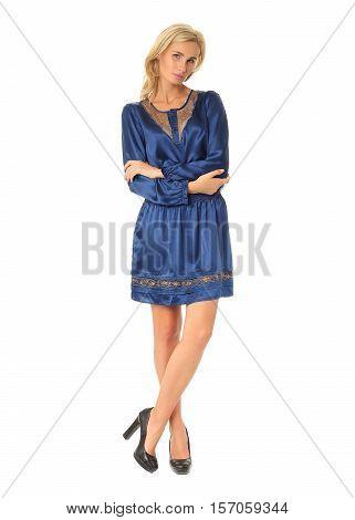 Full Length Of Flirtatious Woman In Ethnic Dress Isolated On White