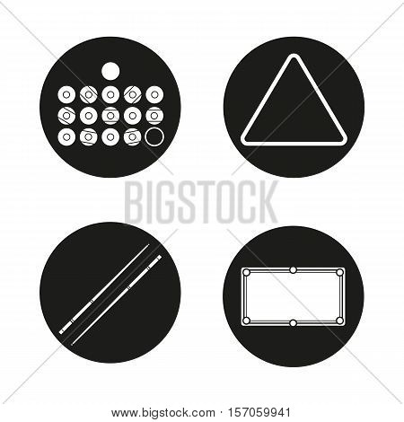 Billiard icons set. Balls, triangle, cues and table. Pool equipment. Snooker accessories. Vector white silhouettes illustrations in black circles