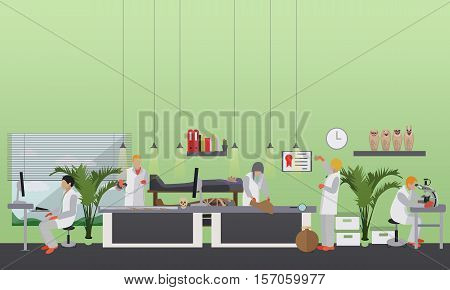 Vector illustration of archaeological laboratory, people at work and equipment. Archaeological research concept design element in flat style.